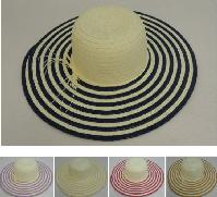 "Ladies Woven Summer Hat [5"" Striped Brim]"